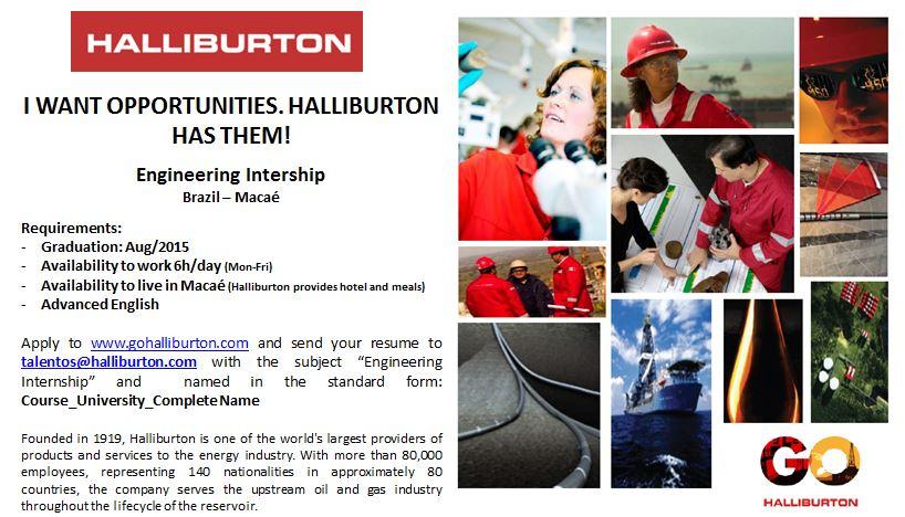 Halliburton - processo seletivo para estágio em Macaé